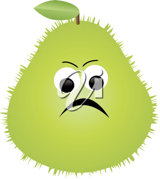 Clip art illustration of a cartoon of Prickly Pear fruit character.