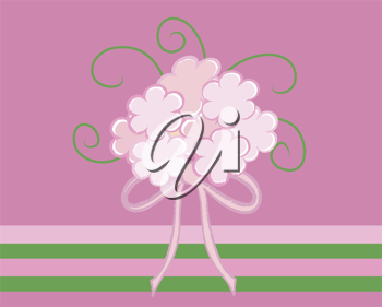 Clip art illustration of a wedding bouquet on a green and pink background.