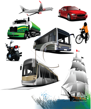 Royalty Free Clipart Image of Transportation Means