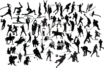 Royalty Free Clipart Image of Sport Silhouettes