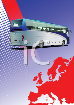 Royalty Free Clipart Image of a Bus Over a Map of Europe
