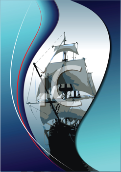 Royalty Free Clipart Image of a Clipper Ship
