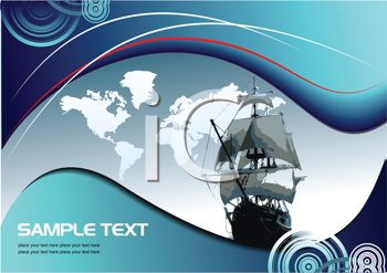 Royalty Free Clipart Image of a Background With a Tall Ship and a Map