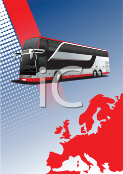 Royalty Free Clipart Image of a Bus Above a Map of Europe