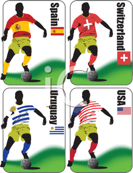 Royalty Free Clipart Image of the Four World Cup Final Teams of 2008