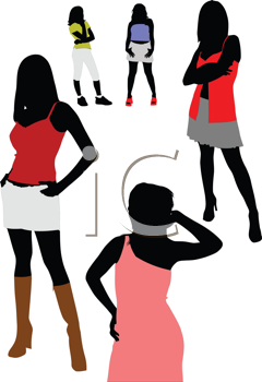Royalty Free Clipart Image of Five Posing Girls