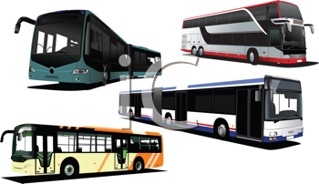 Royalty Free Clipart Image of Four City Buses