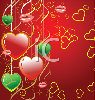 Royalty Free Clipart Image of a Valentine Card With Hearts and Mouths