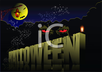 Royalty Free Clipart Image of a Halloween Scene With Red Eyes