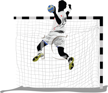 Royalty Free Clipart Image of a Guy Jumping at a Goal With a Ball in His Hand