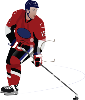 Royalty Free Clipart Image of a Hockey Player in Red and Black