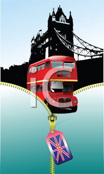 Royalty Free Clipart Image of London Images Coming Out of an Open Zipper