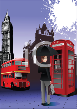 Royalty Free Clipart Image of a London Scene With a Booth, Bus and Woman