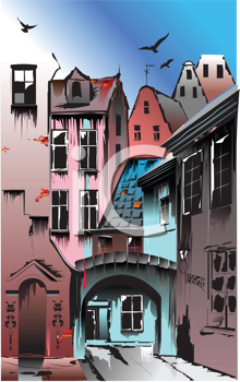 Royalty Free Clipart Image of an Old Town