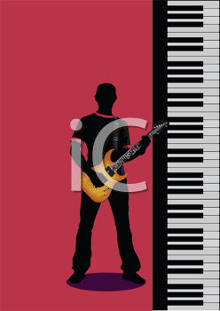 Royalty Free Clipart Image of a Guitarist Beside a Keyboard