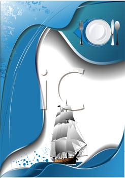 Royalty Free Clipart Image of a Restaurant Menu With a Ship and Plate