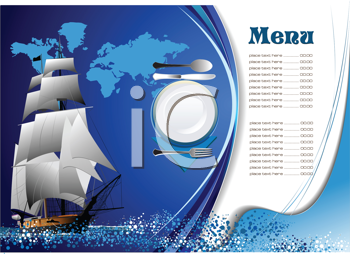 Royalty Free Clipart Image of a Menu With a Ship on It