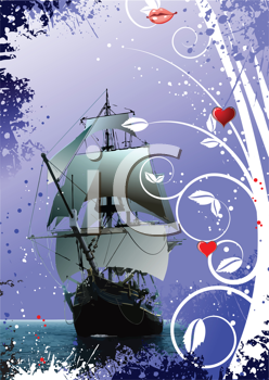 Royalty Free Clipart Image of a Tall Ship With a Mouth and Hearts