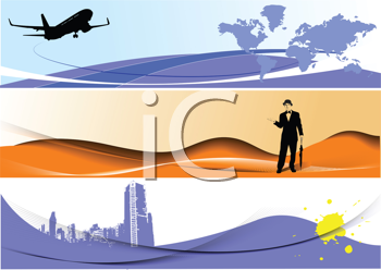 Royalty Free Clipart Image of Three Banners One With a Plane, One With a Man and One With a Building