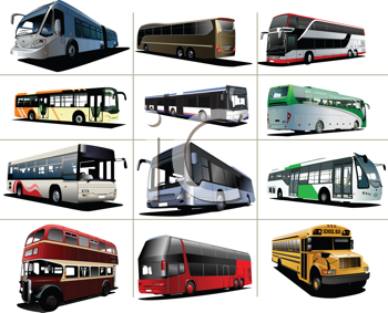 Royalty Free Clipart Image of a Dozen Buses