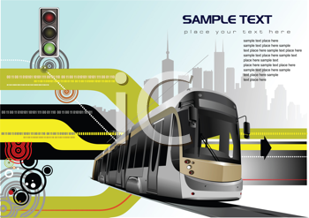 Royalty Free Clipart Image of a Bus at a Traffic Light With Space for Sample Text