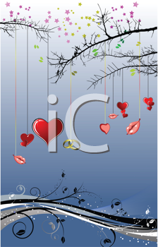 Royalty Free Clipart Image of a Heart and Lip Tree