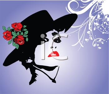 Royalty Free Clipart Image of a Woman Wearing a Hat With Roses