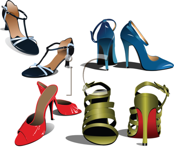 Royalty Free Clipart Image of Women's Fashion Shoes