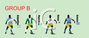 Royalty Free Clipart Image of Group B in the World Cup