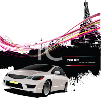 Royalty Free Clipart Image of a Car By the Eiffel Tower