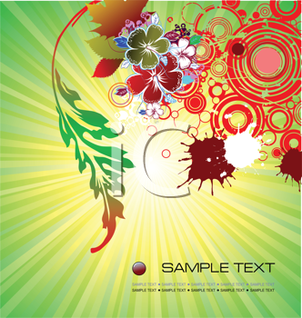 Royalty Free Clipart Image of a Green Gradient Background With a Floral Design in the Corner
