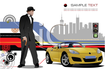 Royalty Free Clipart Image of a Man and a Car in Front of Silhouetted Buildings