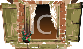 Royalty Free Clipart Image of an Old Window