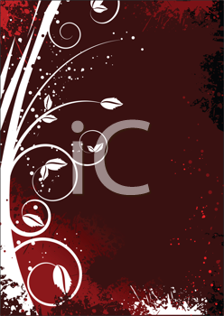 Royalty Free Clipart Image of a Red Background With a Plant at the Left Side