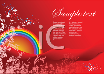 Royalty Free Clipart Image of a Red Background With a Rainbow and Flowers in the Corner