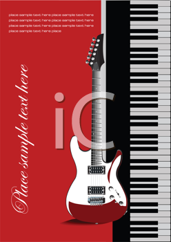 Royalty Free Clipart Image of a Piano and Guitar