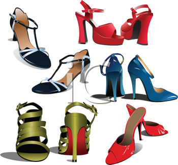 Royalty Free Clipart Image of Five Pairs of Women's Shoes