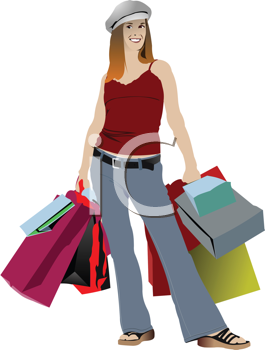 Royalty Free Clipart Image of a Girl With Shopping Bags