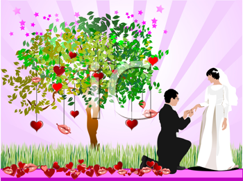 Decorative tree with hearts, lips, bride and groom images. Vector illustration