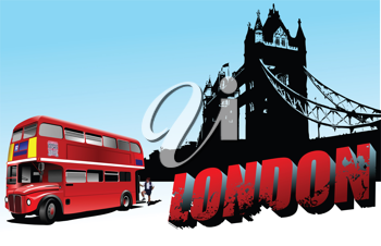 3D word London on Tower bridge and double-decker bus images. Vector illustration