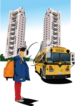 Dormitory and school bus. School girl. Back to school. Vector illustration