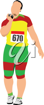 Woman shot put event. Track and field. Vector illustration