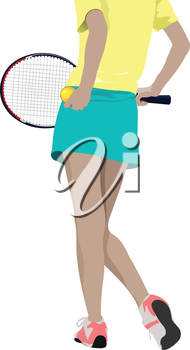 Woman tennis player silhouette. Colored Vector illustration for designers