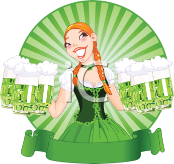 Royalty Free Clipart Image of an Irish Bar Maid