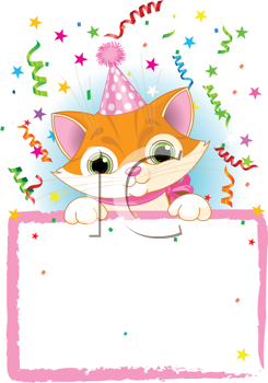 Royalty Free Clipart Image of an Adorable Kitten Wearing A Party Hat, Looking Over A Blank Starry Sign With Colourful Confetti