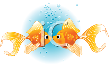 Royalty Free Clipart Image of Kissing Goldfish
