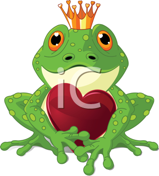 Royalty Free Clipart Image of a Frog Prince Holding a Heart