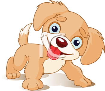 Royalty Free Clipart Image of a Cute Playful Puppy