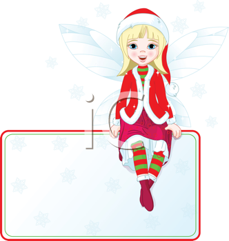 Royalty Free Clipart Image of a Christmas Fairy Sitting on a Place Card