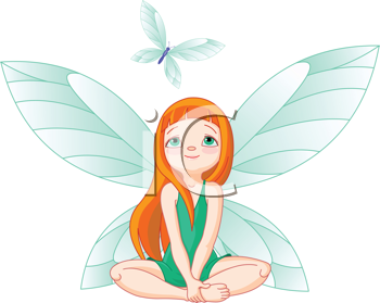 Royalty Free Clipart Image of a Fairy Watching a Flying Butterfly